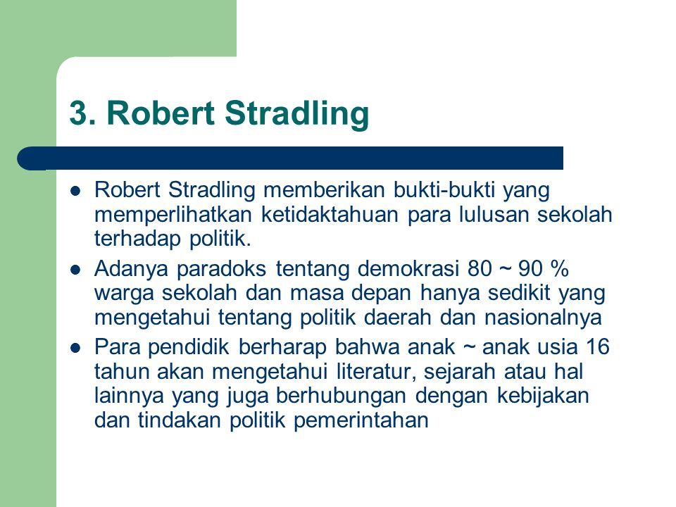 3. Robert Stradling Robert Stradling memberikan bukti-bukti yang memperlihatkan ketidaktahuan para lulusan sekolah terhadap politik. Adanya paradoks t
