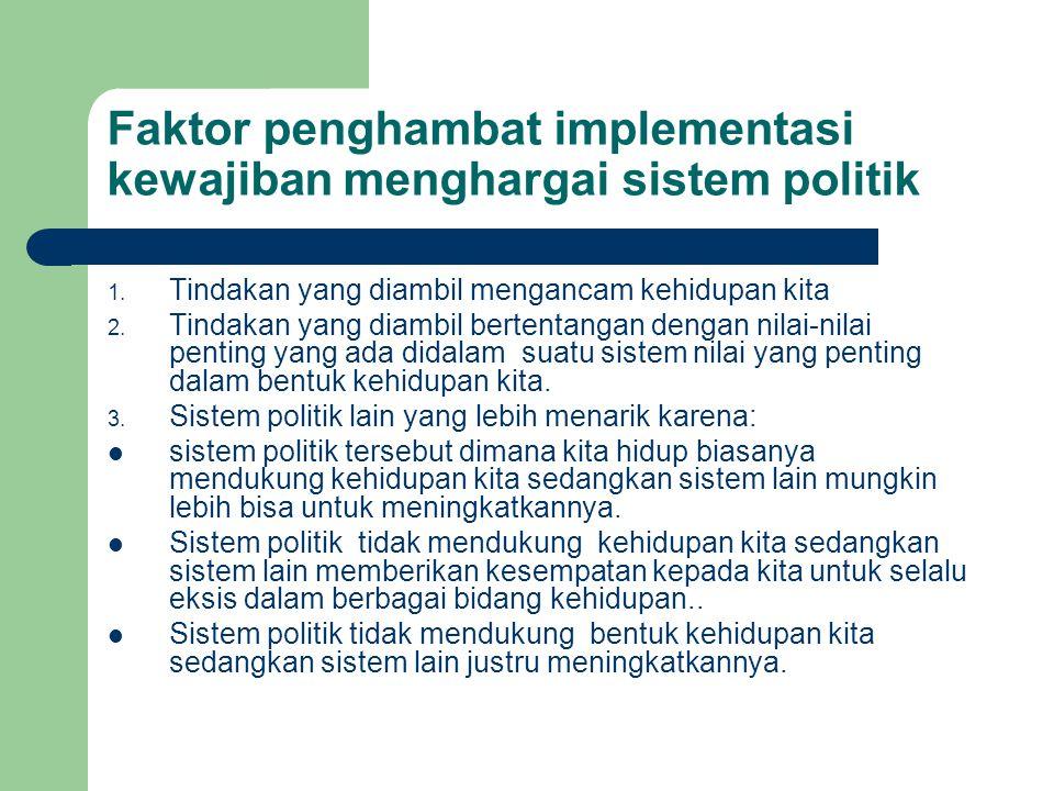 Faktor penghambat implementasi kewajiban menghargai sistem politik 1. Tindakan yang diambil mengancam kehidupan kita 2. Tindakan yang diambil bertenta