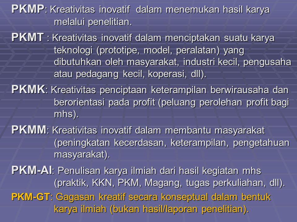 PKMP : Kreativitas inovatif dalam menemukan hasil karya melalui penelitian. PKMT : Kreativitas inovatif dalam menciptakan suatu karya teknologi (proto