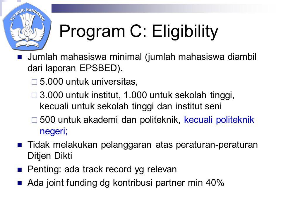 Program C: Eligibility Jumlah mahasiswa minimal (jumlah mahasiswa diambil dari laporan EPSBED).