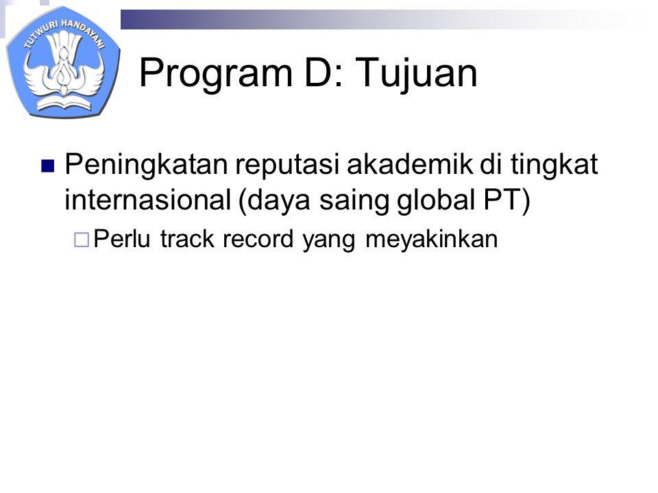 Program D: Tujuan Peningkatan reputasi akademik di tingkat internasional (daya saing global PT)  Perlu track record yang meyakinkan
