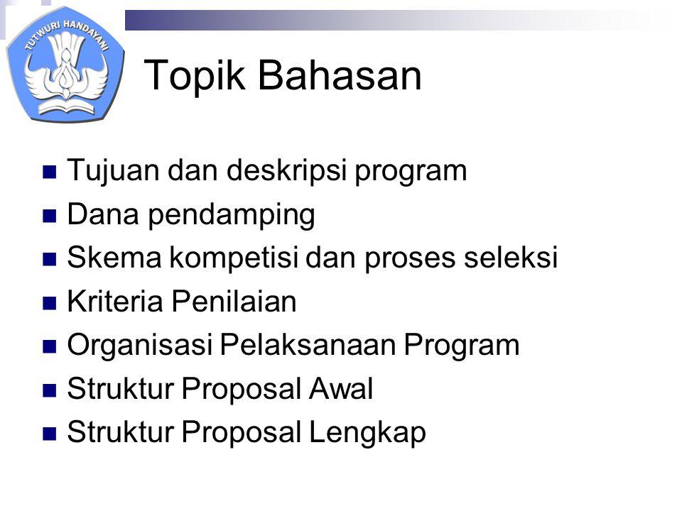 Topik Bahasan Tujuan dan deskripsi program Dana pendamping Skema kompetisi dan proses seleksi Kriteria Penilaian Organisasi Pelaksanaan Program Struktur Proposal Awal Struktur Proposal Lengkap