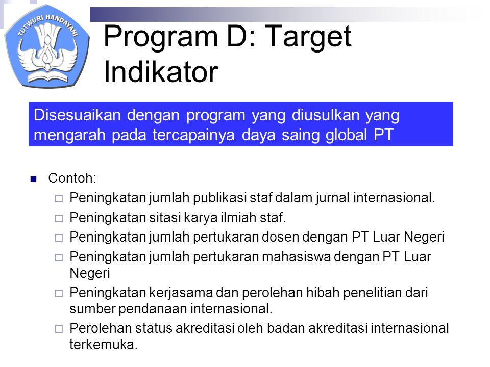 Program D: Target Indikator Contoh:  Peningkatan jumlah publikasi staf dalam jurnal internasional.
