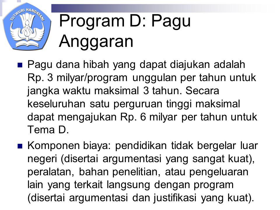 Program D: Pagu Anggaran Pagu dana hibah yang dapat diajukan adalah Rp.