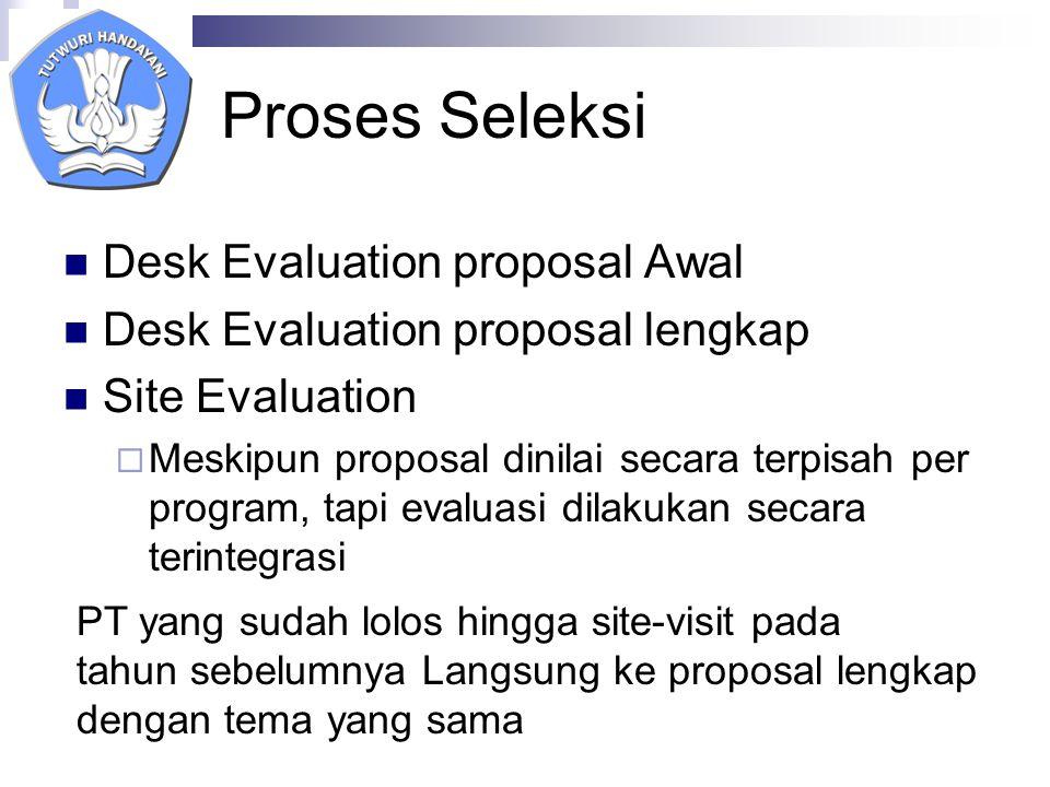 Proses Seleksi Desk Evaluation proposal Awal Desk Evaluation proposal lengkap Site Evaluation  Meskipun proposal dinilai secara terpisah per program, tapi evaluasi dilakukan secara terintegrasi PT yang sudah lolos hingga site-visit pada tahun sebelumnya Langsung ke proposal lengkap dengan tema yang sama