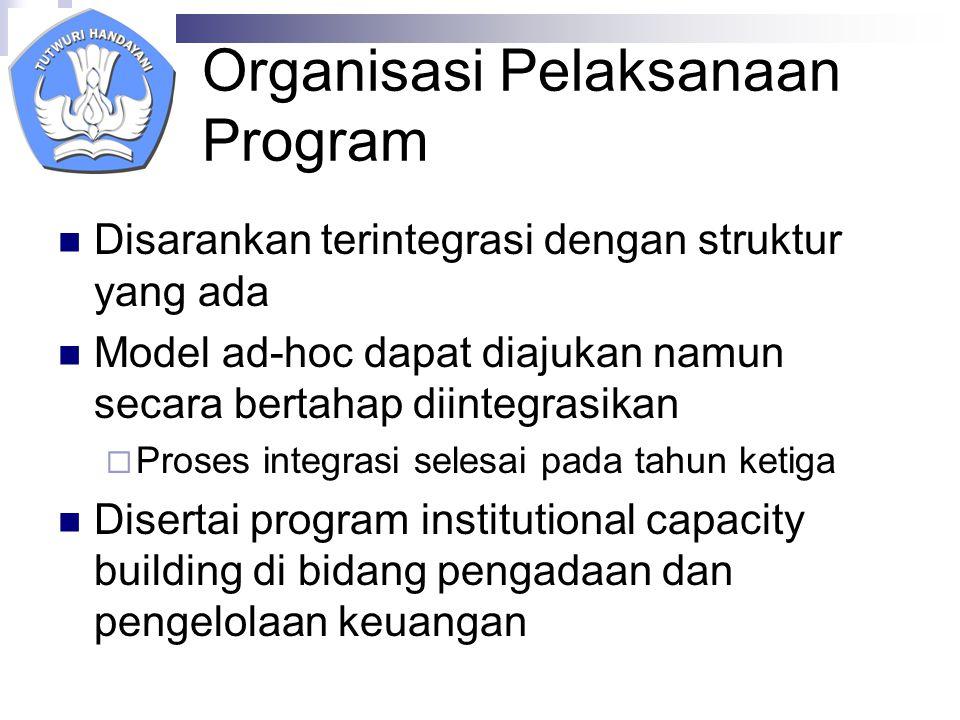 Organisasi Pelaksanaan Program Disarankan terintegrasi dengan struktur yang ada Model ad-hoc dapat diajukan namun secara bertahap diintegrasikan  Proses integrasi selesai pada tahun ketiga Disertai program institutional capacity building di bidang pengadaan dan pengelolaan keuangan