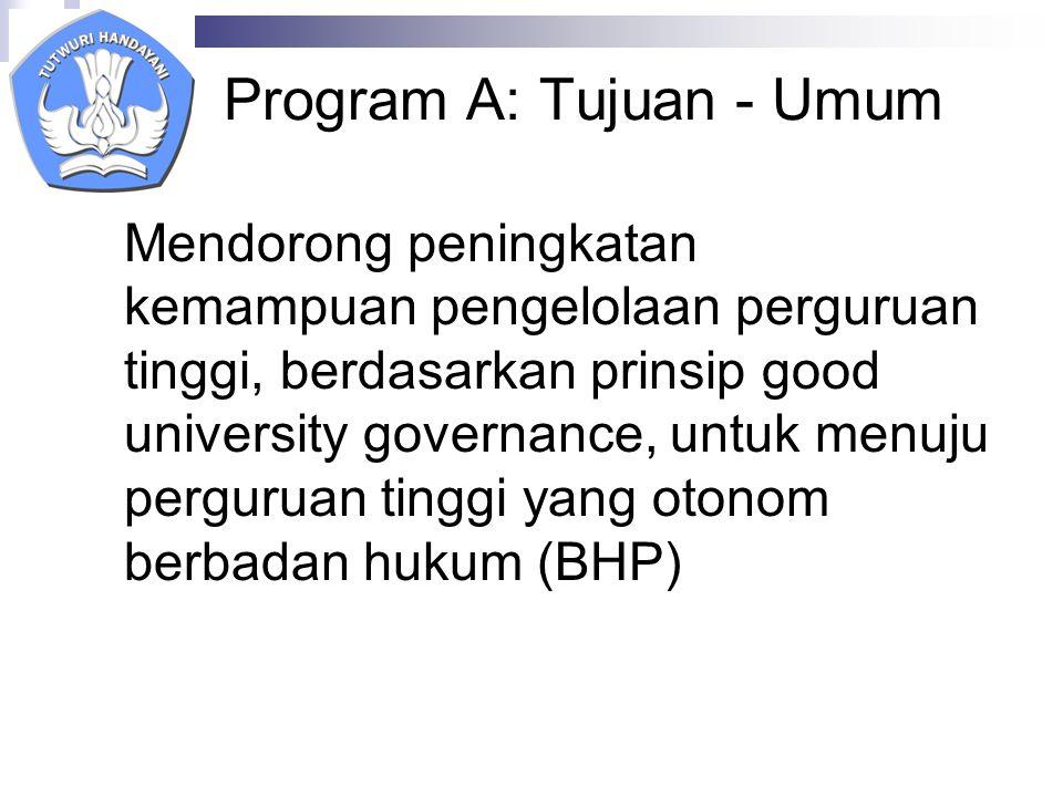 Program A: Tujuan - Khusus a.