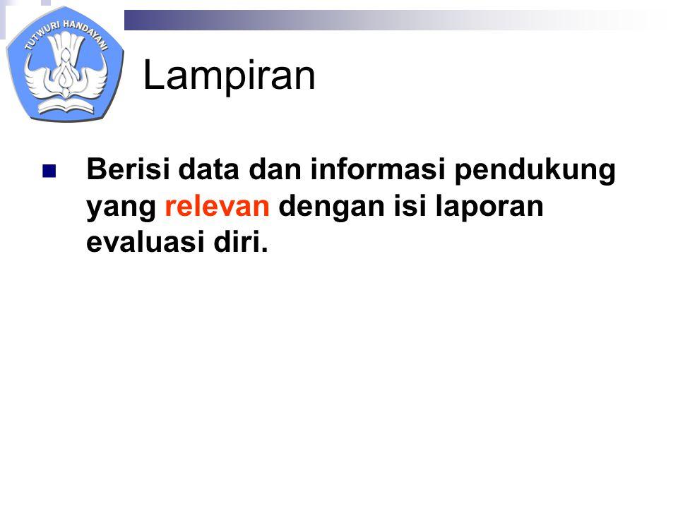 Lampiran Berisi data dan informasi pendukung yang relevan dengan isi laporan evaluasi diri.