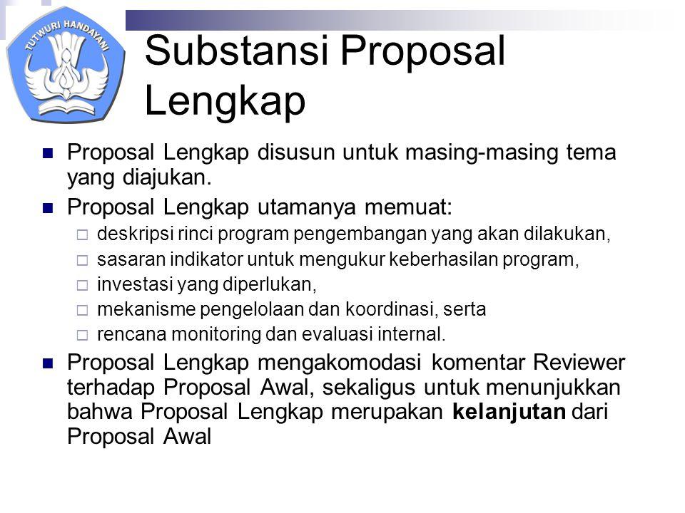 Substansi Proposal Lengkap Proposal Lengkap disusun untuk masing-masing tema yang diajukan.