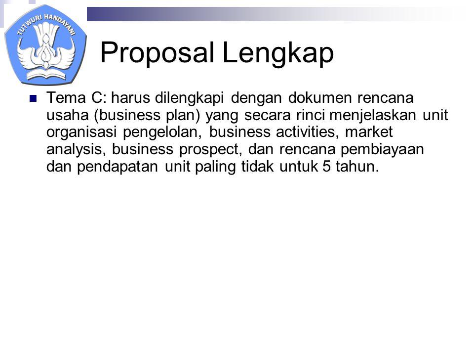 Proposal Lengkap Tema C: harus dilengkapi dengan dokumen rencana usaha (business plan) yang secara rinci menjelaskan unit organisasi pengelolan, business activities, market analysis, business prospect, dan rencana pembiayaan dan pendapatan unit paling tidak untuk 5 tahun.
