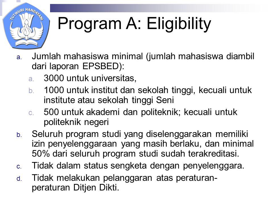 Program A: Eligibility a.
