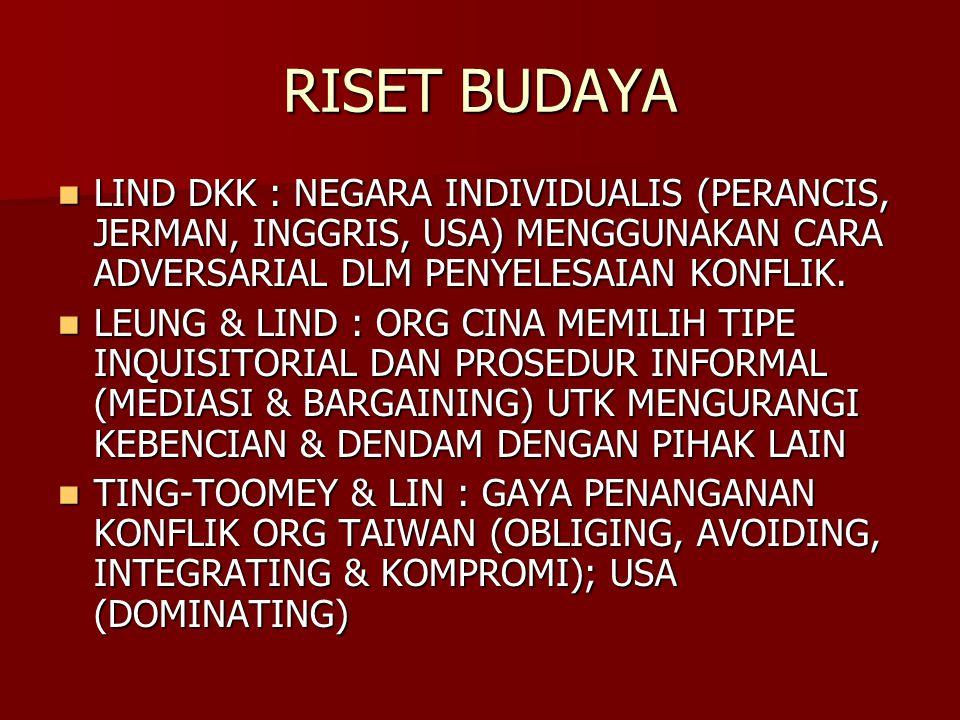 RISET BUDAYA LIND DKK : NEGARA INDIVIDUALIS (PERANCIS, JERMAN, INGGRIS, USA) MENGGUNAKAN CARA ADVERSARIAL DLM PENYELESAIAN KONFLIK.