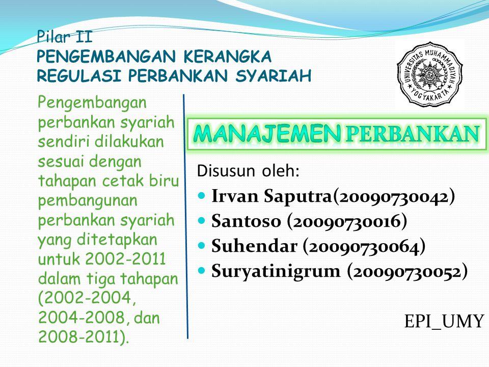 Pilar II PENGEMBANGAN KERANGKA REGULASI PERBANKAN SYARIAH Pengembangan perbankan syariah sendiri dilakukan sesuai dengan tahapan cetak biru pembangunan perbankan syariah yang ditetapkan untuk 2002-2011 dalam tiga tahapan (2002-2004, 2004-2008, dan 2008-2011).