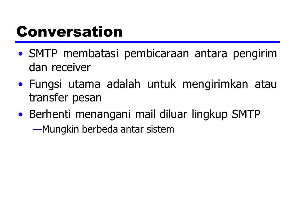 Conversation SMTP membatasi pembicaraan antara pengirim dan receiver Fungsi utama adalah untuk mengirimkan atau transfer pesan Berhenti menangani mail