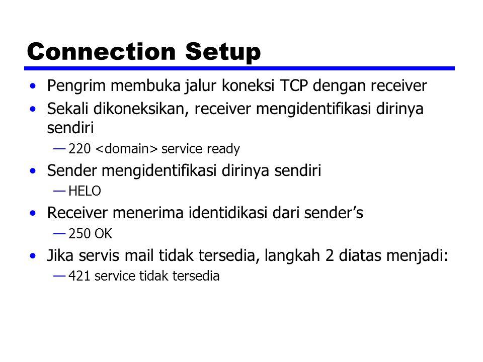 Connection Setup Pengrim membuka jalur koneksi TCP dengan receiver Sekali dikoneksikan, receiver mengidentifikasi dirinya sendiri —220 service ready S