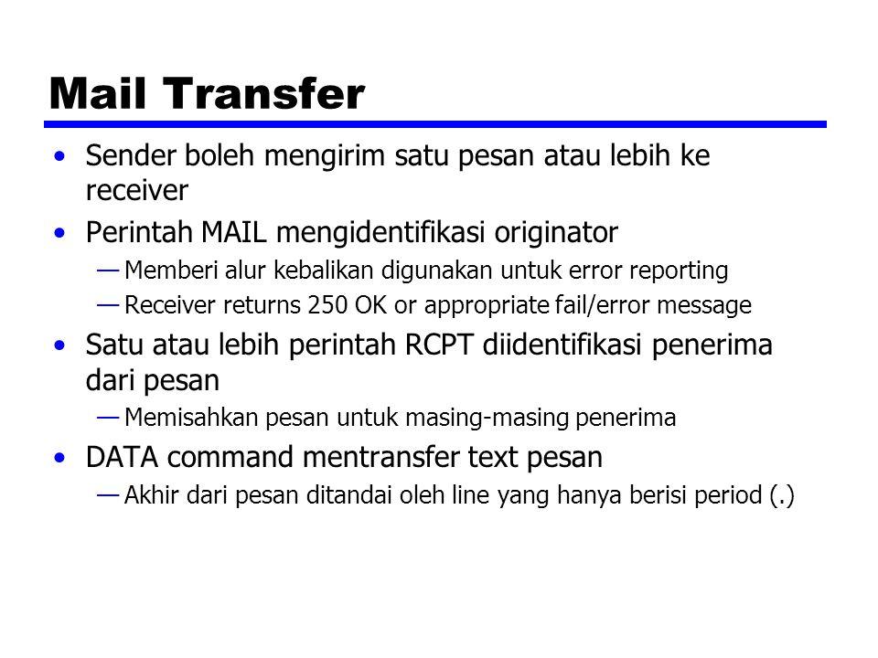 Mail Transfer Sender boleh mengirim satu pesan atau lebih ke receiver Perintah MAIL mengidentifikasi originator —Memberi alur kebalikan digunakan untu
