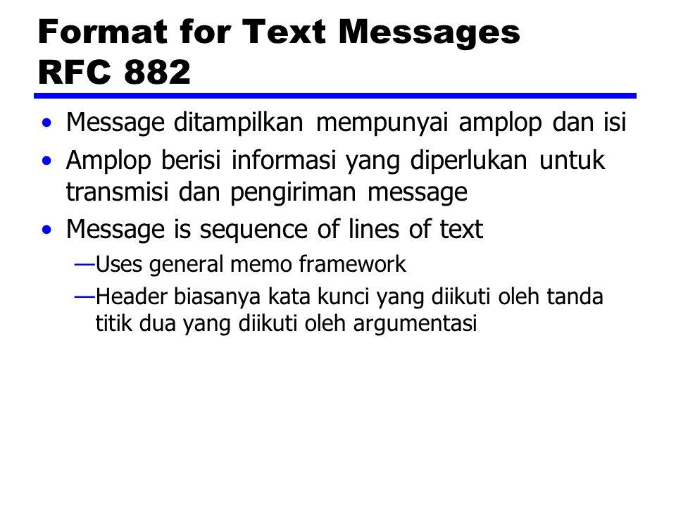 Format for Text Messages RFC 882 Message ditampilkan mempunyai amplop dan isi Amplop berisi informasi yang diperlukan untuk transmisi dan pengiriman m