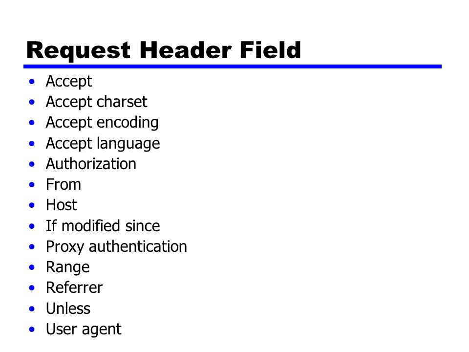Request Header Field Accept Accept charset Accept encoding Accept language Authorization From Host If modified since Proxy authentication Range Referrer Unless User agent