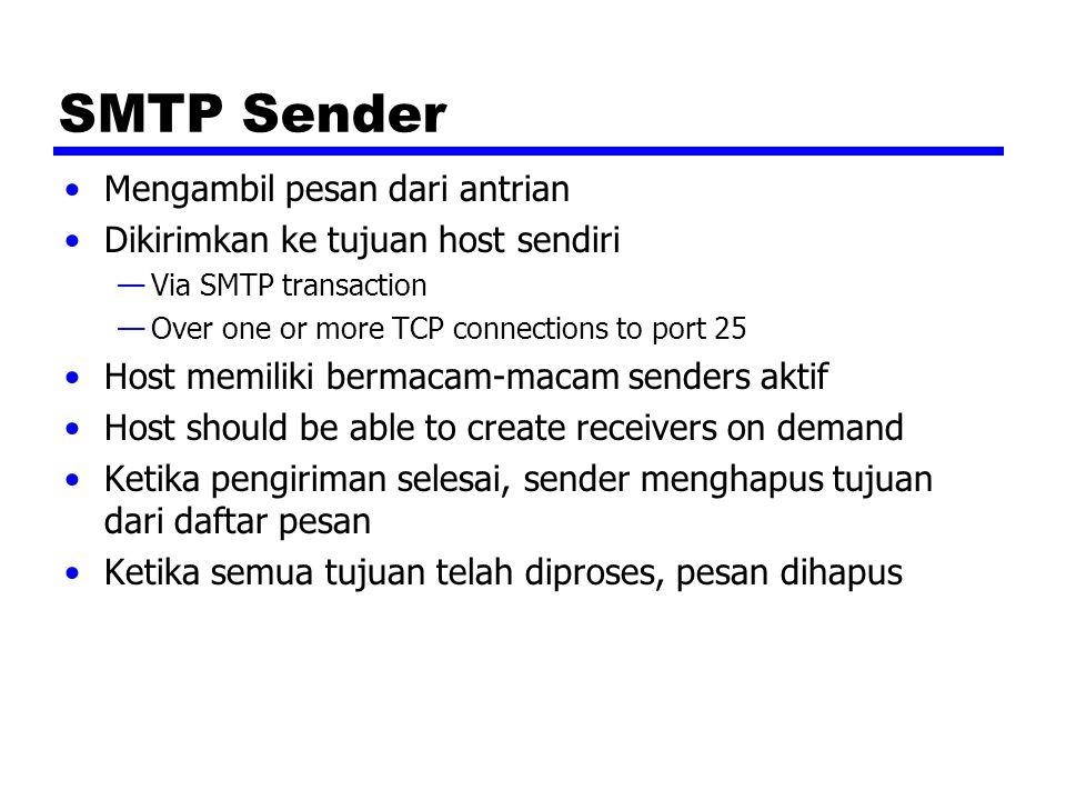 Optimization Jika tujuan pesan untuk multiple users ditentukan host, pesan dikirim hanya sekali —Pengiriman ke users ditangani pada host tujuan Jika berbagai pesan siap diberikan host, sebuah koneksi TCP dapat digunakan —Saves overhead of setting up and dropping connection