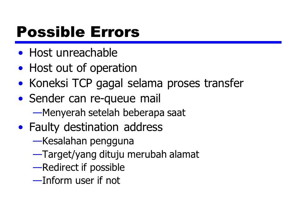 SMTP Protocol - Reliability Digunakan untuk mengirimkan pesan dari sender to receiver melalui koneksi TCP Berusaha untuk memberikan layanan yang dapat dipercaya Tidak menjamin untuk mendapatkan kembali pesan yang hilang No end to end acknowledgement to originator Tidak menjamin adanya indikasi kesalahan dalam proses pengiriman Umumnya dapat dipercaya