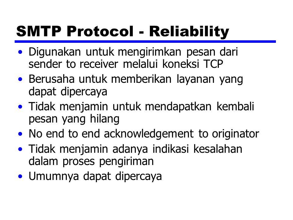 SMTP Protocol - Reliability Digunakan untuk mengirimkan pesan dari sender to receiver melalui koneksi TCP Berusaha untuk memberikan layanan yang dapat