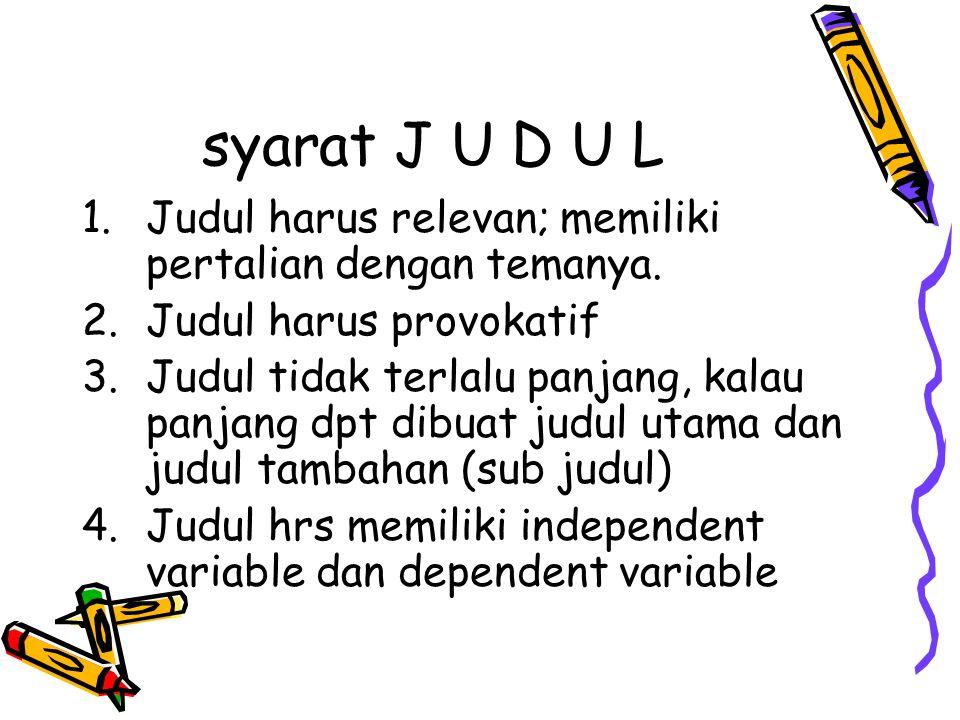 syarat J U D U L 1.Judul harus relevan; memiliki pertalian dengan temanya. 2.Judul harus provokatif 3.Judul tidak terlalu panjang, kalau panjang dpt d