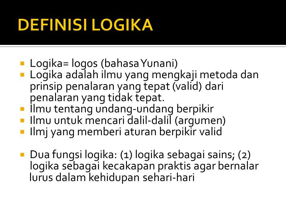  Logika= logos (bahasa Yunani)  Logika adalah ilmu yang mengkaji metoda dan prinsip penalaran yang tepat (valid) dari penalaran yang tidak tepat. 