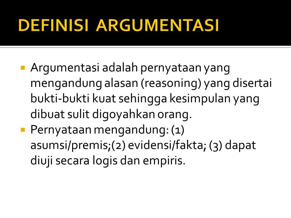  Argumentasi adalah pernyataan yang mengandung alasan (reasoning) yang disertai bukti-bukti kuat sehingga kesimpulan yang dibuat sulit digoyahkan ora