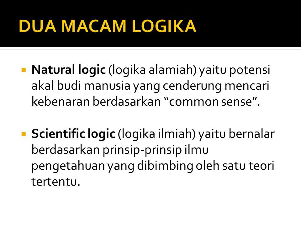 """ Natural logic (logika alamiah) yaitu potensi akal budi manusia yang cenderung mencari kebenaran berdasarkan """"common sense"""".  Scientific logic (logi"""