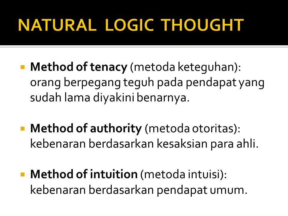  Method of tenacy (metoda keteguhan): orang berpegang teguh pada pendapat yang sudah lama diyakini benarnya.  Method of authority (metoda otoritas):