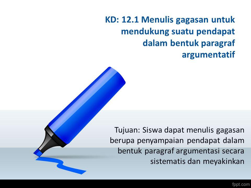KD: 12.1 Menulis gagasan untuk mendukung suatu pendapat dalam bentuk paragraf argumentatif Tujuan: Siswa dapat menulis gagasan berupa penyampaian pend