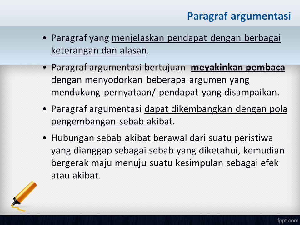 Paragraf argumentasi Paragraf yang menjelaskan pendapat dengan berbagai keterangan dan alasan. Paragraf argumentasi bertujuan meyakinkan pembaca denga