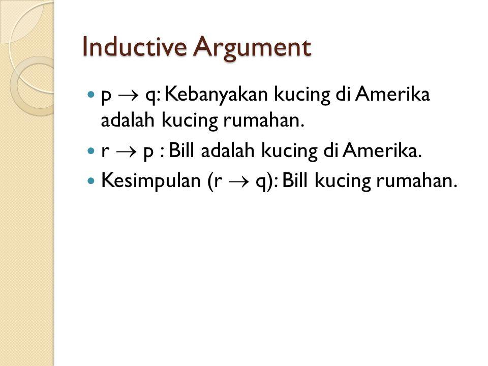 Inductive Argument p  q: Kebanyakan kucing di Amerika adalah kucing rumahan. r  p : Bill adalah kucing di Amerika. Kesimpulan (r  q): Bill kucing r