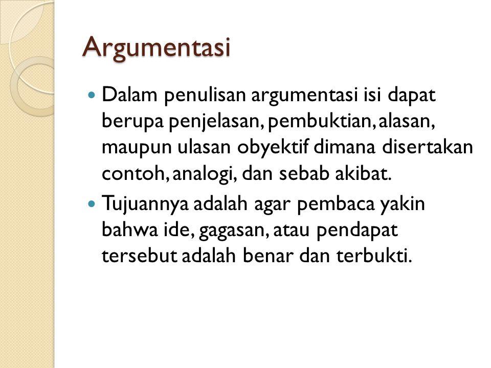 Argumentasi Dalam penulisan argumentasi isi dapat berupa penjelasan, pembuktian, alasan, maupun ulasan obyektif dimana disertakan contoh, analogi, dan