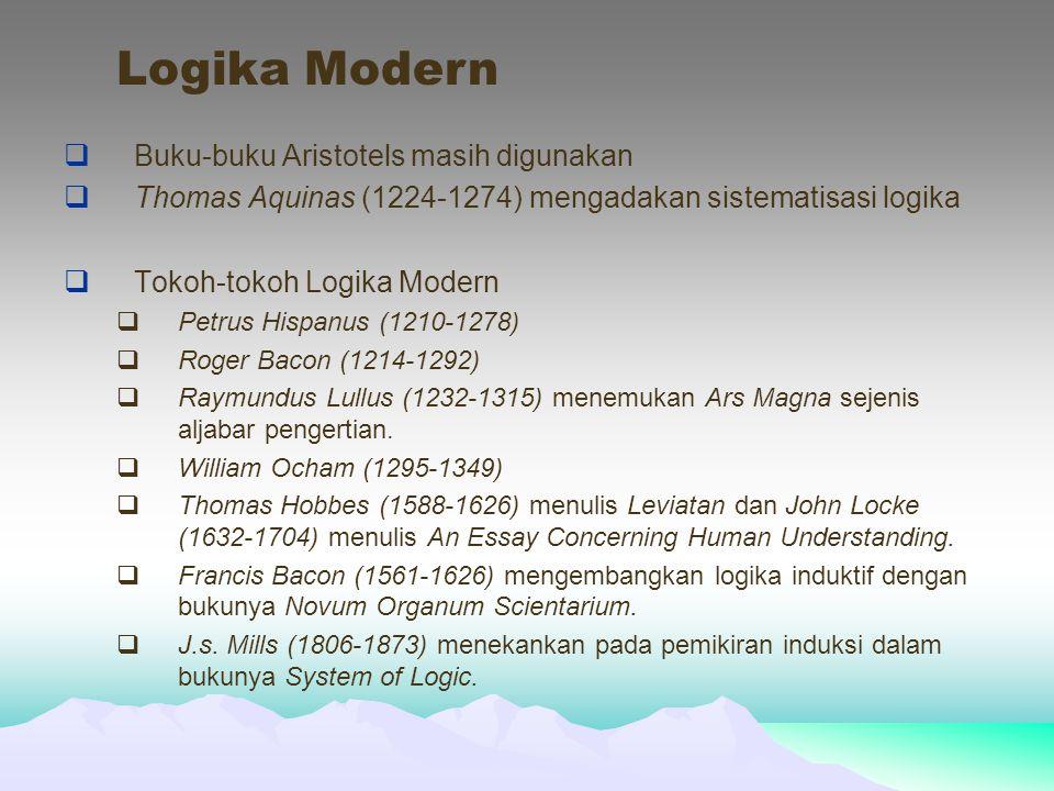  Buku-buku Aristotels masih digunakan  Thomas Aquinas (1224-1274) mengadakan sistematisasi logika  Tokoh-tokoh Logika Modern  Petrus Hispanus (1210-1278)  Roger Bacon (1214-1292)  Raymundus Lullus (1232-1315) menemukan Ars Magna sejenis aljabar pengertian.