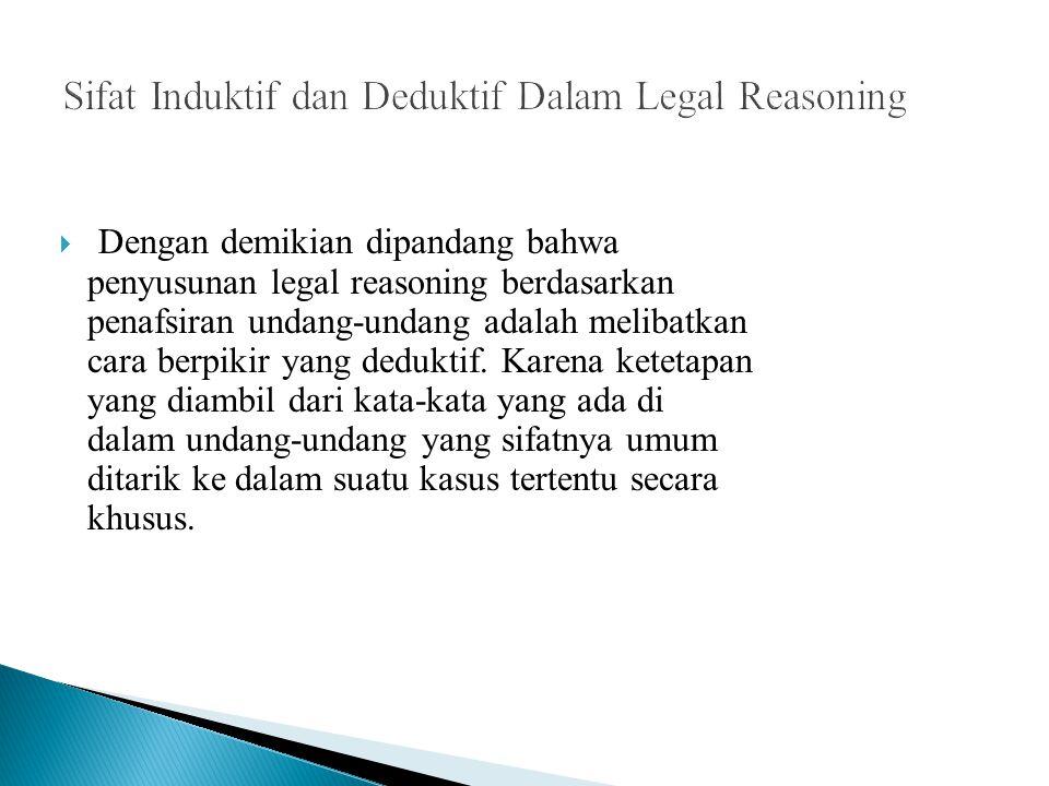  Dengan demikian dipandang bahwa penyusunan legal reasoning berdasarkan penafsiran undang-undang adalah melibatkan cara berpikir yang deduktif. Karen