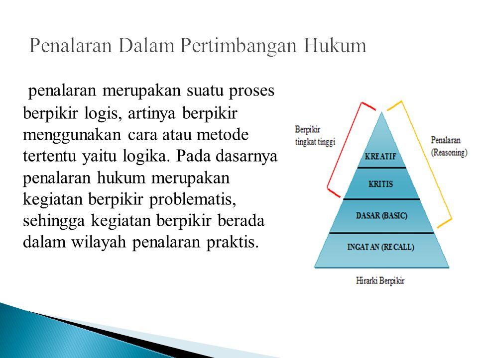 penalaran merupakan suatu proses berpikir logis, artinya berpikir menggunakan cara atau metode tertentu yaitu logika. Pada dasarnya penalaran hukum me