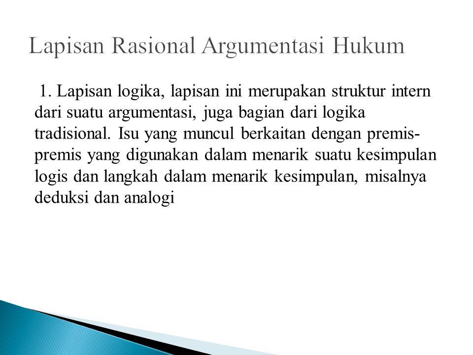 1. Lapisan logika, lapisan ini merupakan struktur intern dari suatu argumentasi, juga bagian dari logika tradisional. Isu yang muncul berkaitan dengan