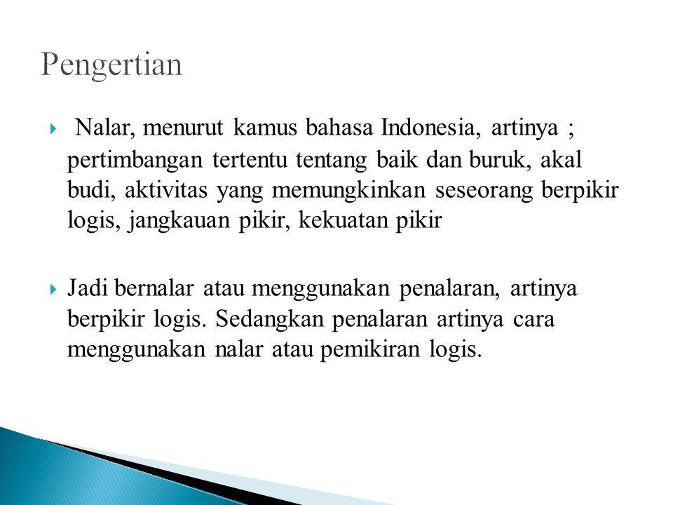  Nalar, menurut kamus bahasa Indonesia, artinya ; pertimbangan tertentu tentang baik dan buruk, akal budi, aktivitas yang memungkinkan seseorang berp