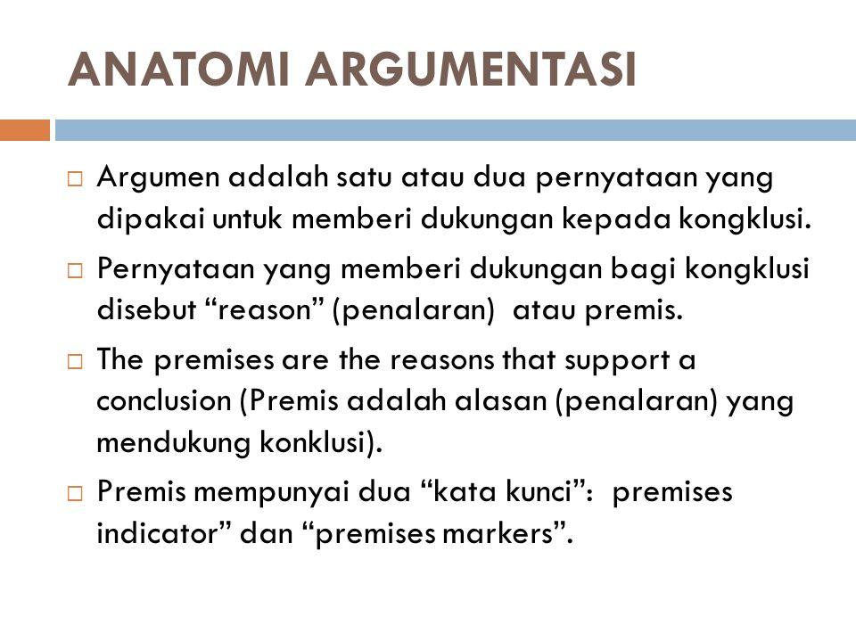 ANATOMI ARGUMENTASI  Argumen adalah satu atau dua pernyataan yang dipakai untuk memberi dukungan kepada kongklusi.  Pernyataan yang memberi dukungan