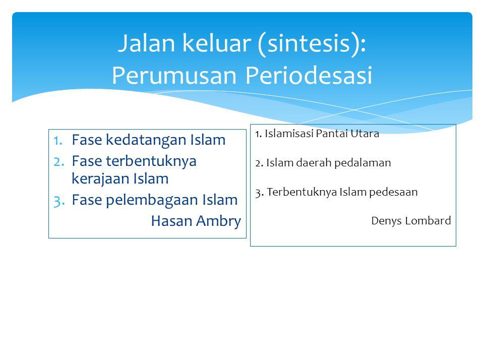 1.Fase kedatangan Islam 2.Fase terbentuknya kerajaan Islam 3.Fase pelembagaan Islam Hasan Ambry Jalan keluar (sintesis): Perumusan Periodesasi 1. Isla