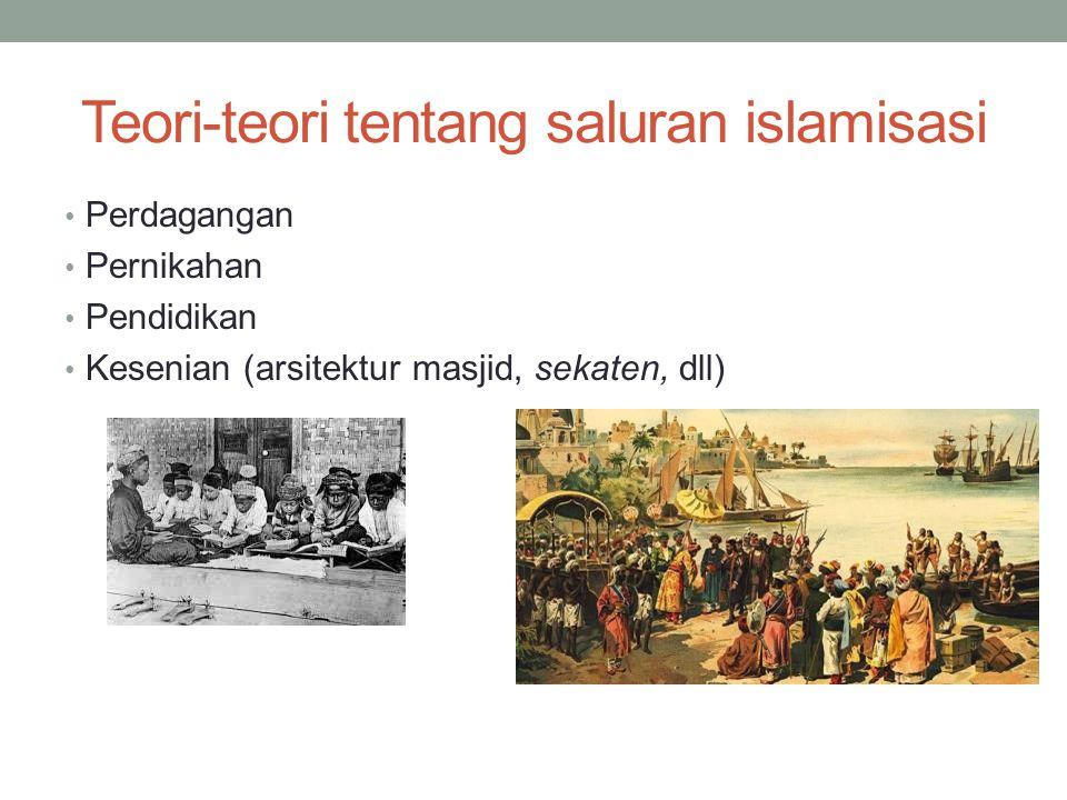 Teori-teori tentang saluran islamisasi Perdagangan Pernikahan Pendidikan Kesenian (arsitektur masjid, sekaten, dll)