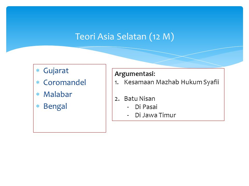  Gujarat  Coromandel  Malabar  Bengal Teori Asia Selatan (12 M) Argumentasi: 1.Kesamaan Mazhab Hukum Syafii 2.Batu Nisan -Di Pasai -Di Jawa Timur