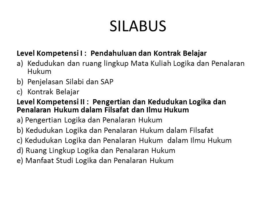 SILABUS Level Kompetensi I : Pendahuluan dan Kontrak Belajar a) Kedudukan dan ruang lingkup Mata Kuliah Logika dan Penalaran Hukum b)Penjelasan Silabi