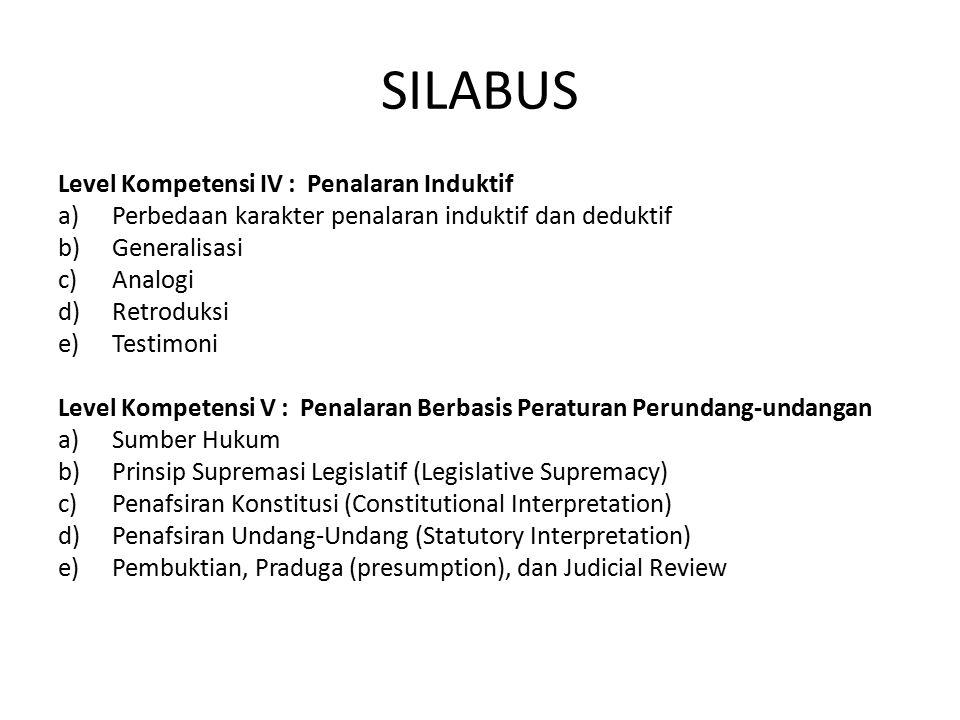 SILABUS Level Kompetensi IV : Penalaran Induktif a)Perbedaan karakter penalaran induktif dan deduktif b)Generalisasi c)Analogi d)Retroduksi e)Testimon