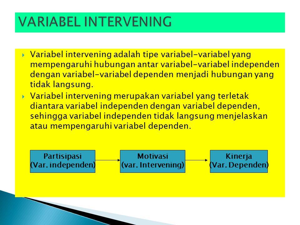  Variabel intervening adalah tipe variabel-variabel yang mempengaruhi hubungan antar variabel-variabel independen dengan variabel-variabel dependen menjadi hubungan yang tidak langsung.