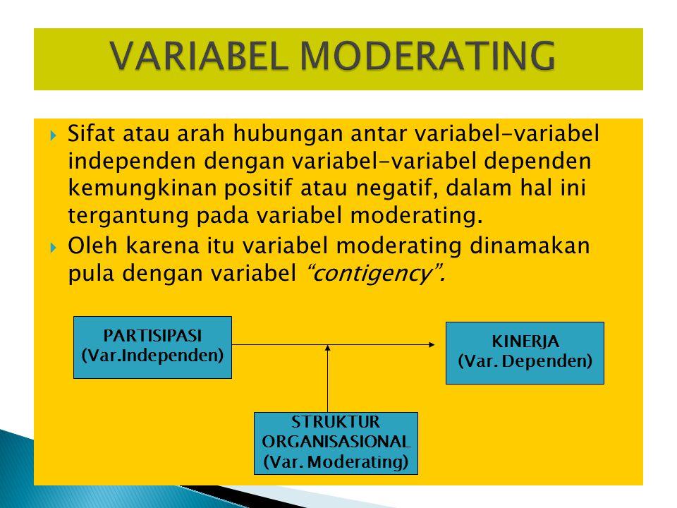  Sifat atau arah hubungan antar variabel-variabel independen dengan variabel-variabel dependen kemungkinan positif atau negatif, dalam hal ini tergantung pada variabel moderating.