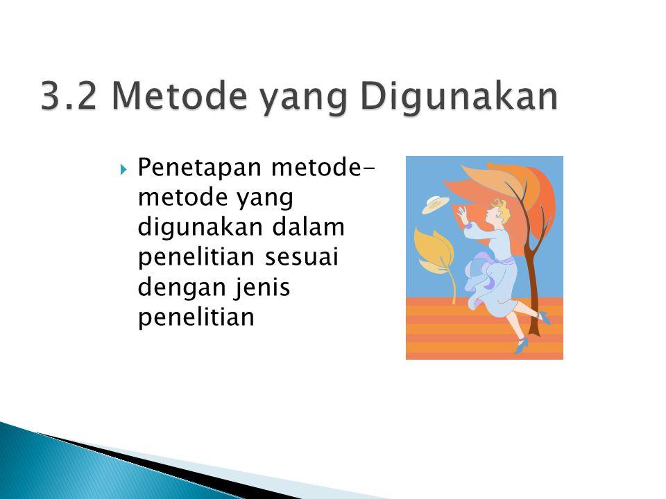  Penetapan metode- metode yang digunakan dalam penelitian sesuai dengan jenis penelitian