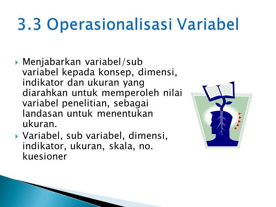  Menjabarkan variabel/sub variabel kepada konsep, dimensi, indikator dan ukuran yang diarahkan untuk memperoleh nilai variabel penelitian, sebagai landasan untuk menentukan ukuran.
