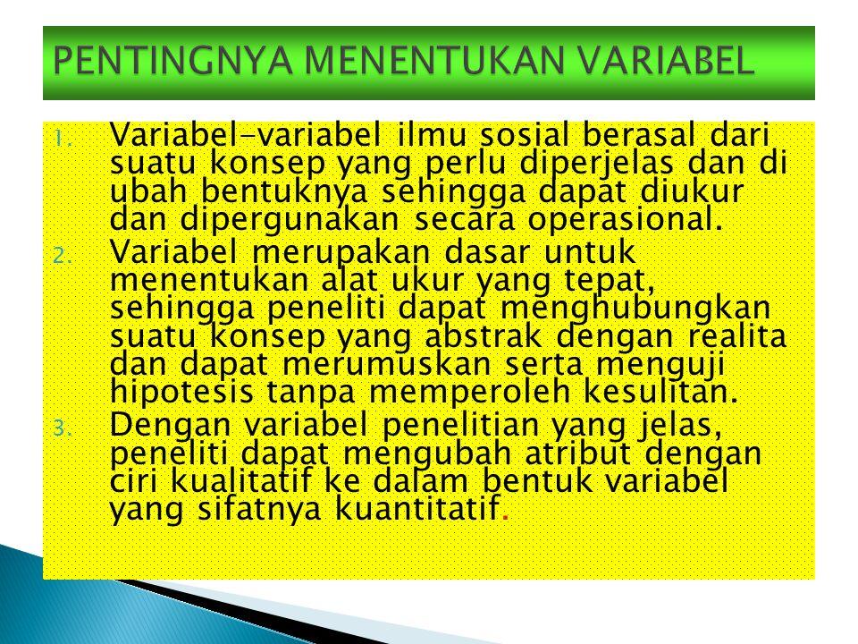 1. Variabel-variabel ilmu sosial berasal dari suatu konsep yang perlu diperjelas dan di ubah bentuknya sehingga dapat diukur dan dipergunakan secara o